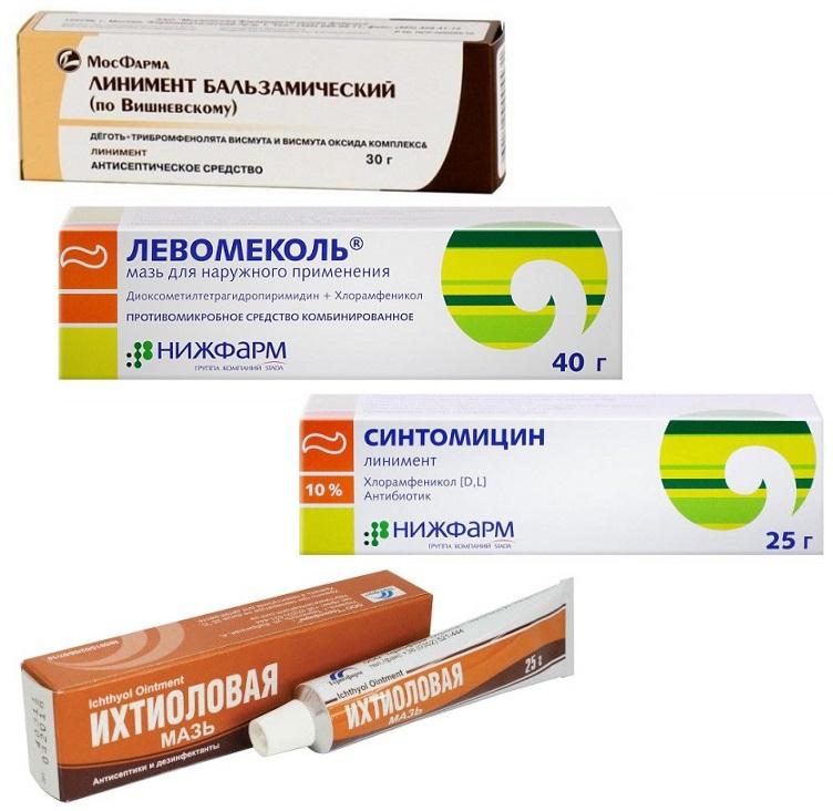 Линимент Вишневского и левомеколь. синтомицин и ихтиоловая мазь коллаж